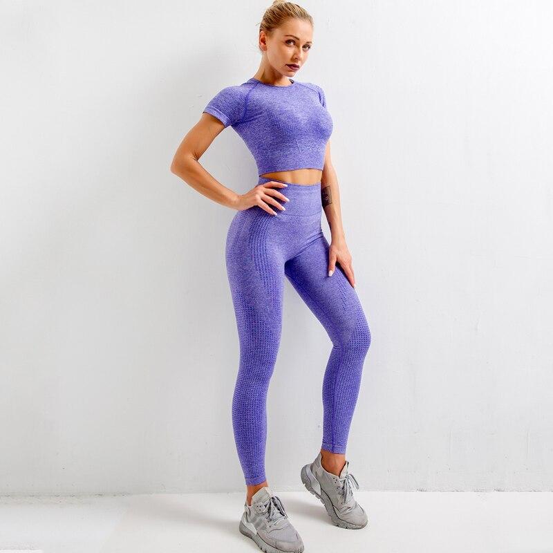 Seamless Yoga 2 Piece Set Women Gym Workout Clothes + Pants High Waist Sports Bra Comfortable Breathable Sports Suits