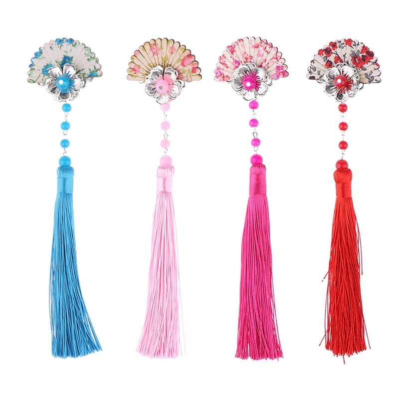 Estilo chinês de madeira do vintage fã borla grampo de cabelo pino quimono gueixa headpiece traje cosplay crianças hairpin acessórios para o cabelo