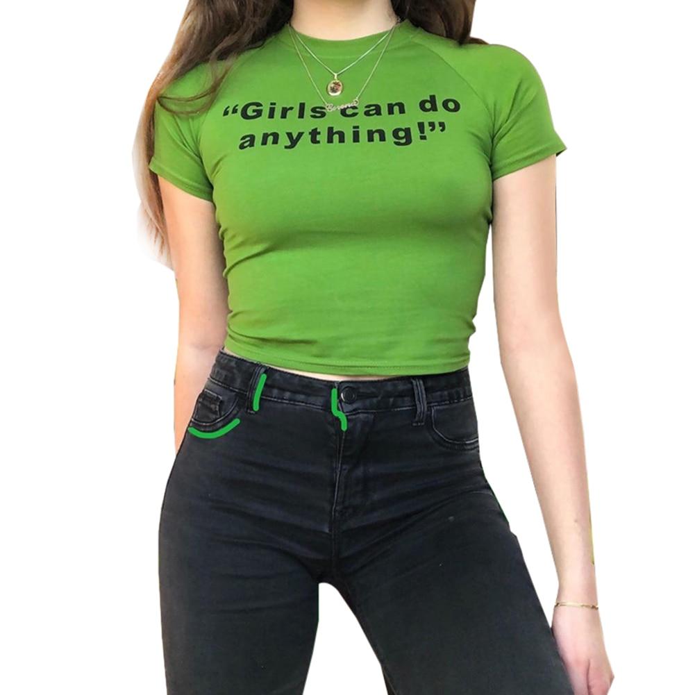 Casual letra impresa Camiseta de manga corta de algodón chicas Pullover corto camiseta de verano Crop Tops Tees Bodycon verde oliva camiseta