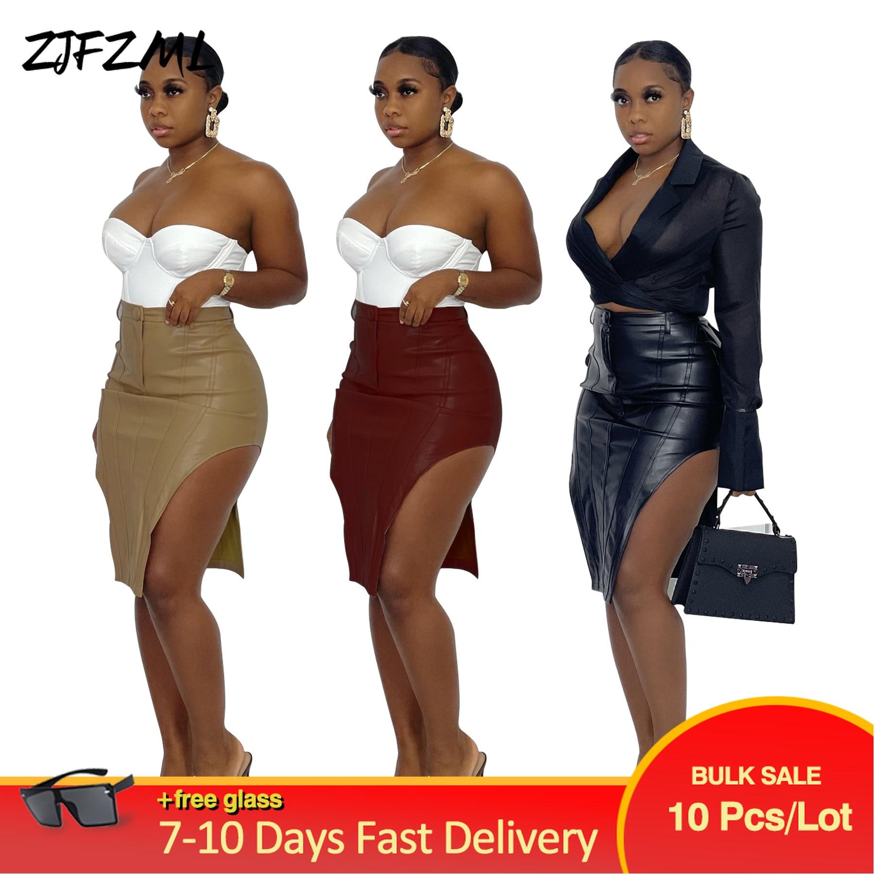 Bulk Items Wholesale Lots Women's Skirt High Street Style PU Faux Leather Bodycon Skirts Vintage Autumn Side Split Slim Bottom