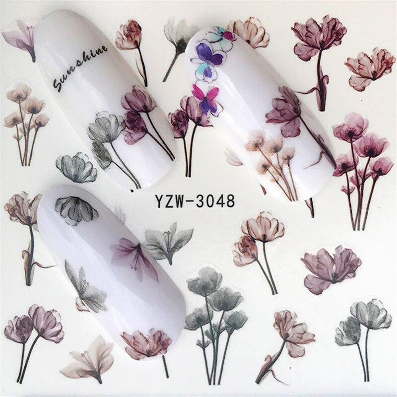 1 лист горячего дизайна, водофиолетовый, красивые наклейки с цветами для дизайна ногтей, наклейки для ногтей, для самостоятельного маникюра, украшения