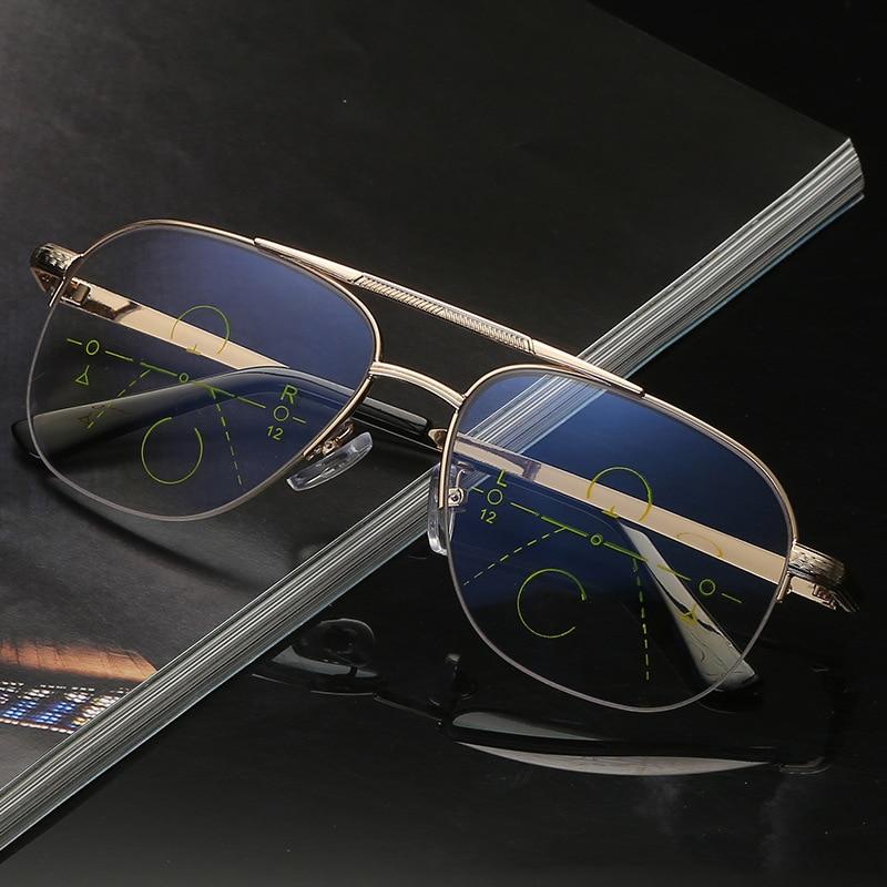 Retro Pilot Multifocal Reading Glasses Anti Blue Light Presbyopic Eyewear Gradient Gray Lenses Sungl