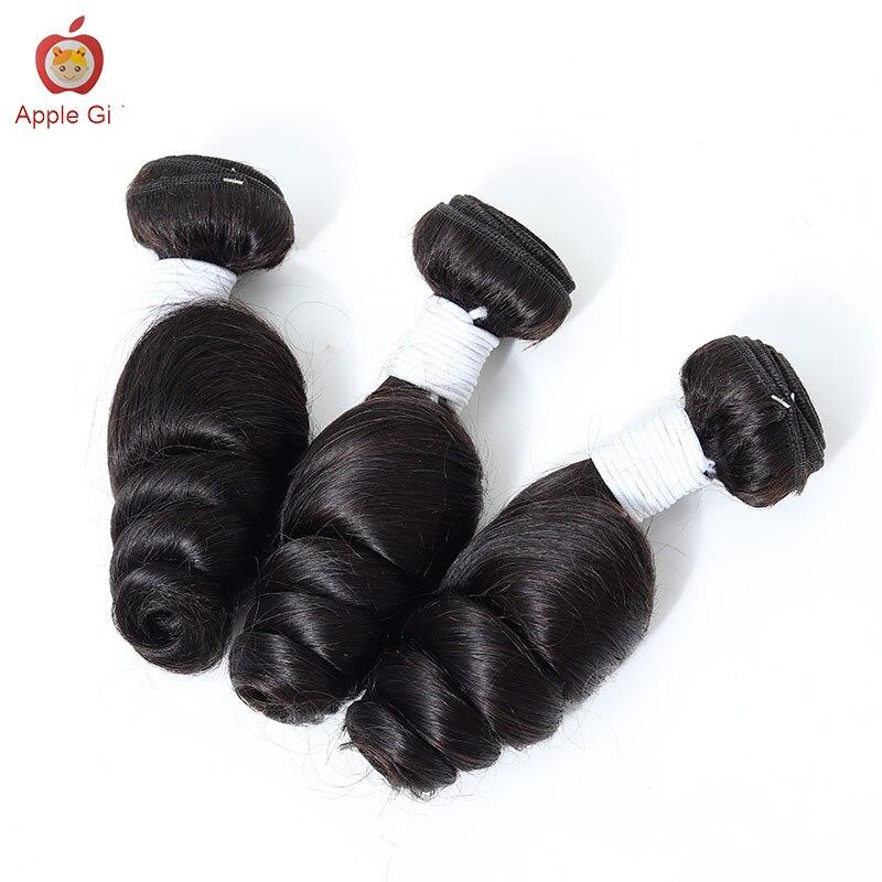 هندي فضفاض موجة حزم 3 أو 4 حزم Applegirl ريمي الشعر البشري لحمة مزدوجة نسج اللون الطبيعي 1B