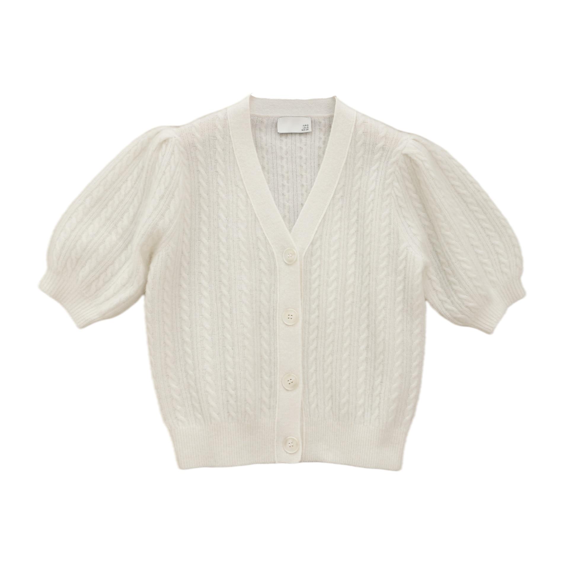 SHUCHAN 35% Mohair Wool Blend SWEATER WOMEN White Puff Sleeve  V-Neck  High Street Crop Tops Cardigan Fashion