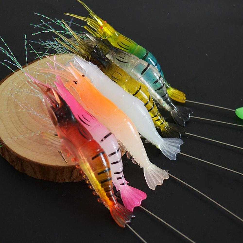 7Pcs Luminous Shrimp With Hooked Soft Bait Shrimp Fish Bait Bionic Official Hanging Shrimp Simulation Fish Bait Artificial Bait enlarge