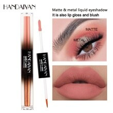 Makeup Lipstick Matte Lipsticks Waterproof Long Lasting Gloss Lips Sexy Red Double-headed Pearlescent Eye Shadow Matte Lip Gloss
