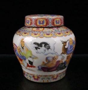 China enamel color ceramic Tea cans crafts statue
