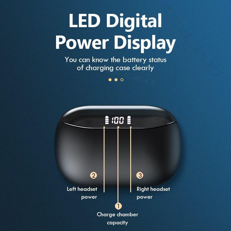 Auriculares TWS Bluetooth con pantalla LED, auriculares inalámbricos con tecnología TWS, auriculares estéreo deportivos a prueba de agua con micrófono