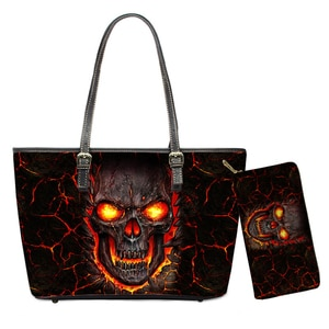 Punk Skull Fire Design Brand Shoulder Bags 3D Skulls Print Women Large Zipper Handbags Set with Wallet Female Purses