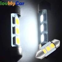 2pcs white car led c5w 3smd 31mm 36mm 39mm license plate lights trunk lamp festoon interior dome reading lights turn signal bulb