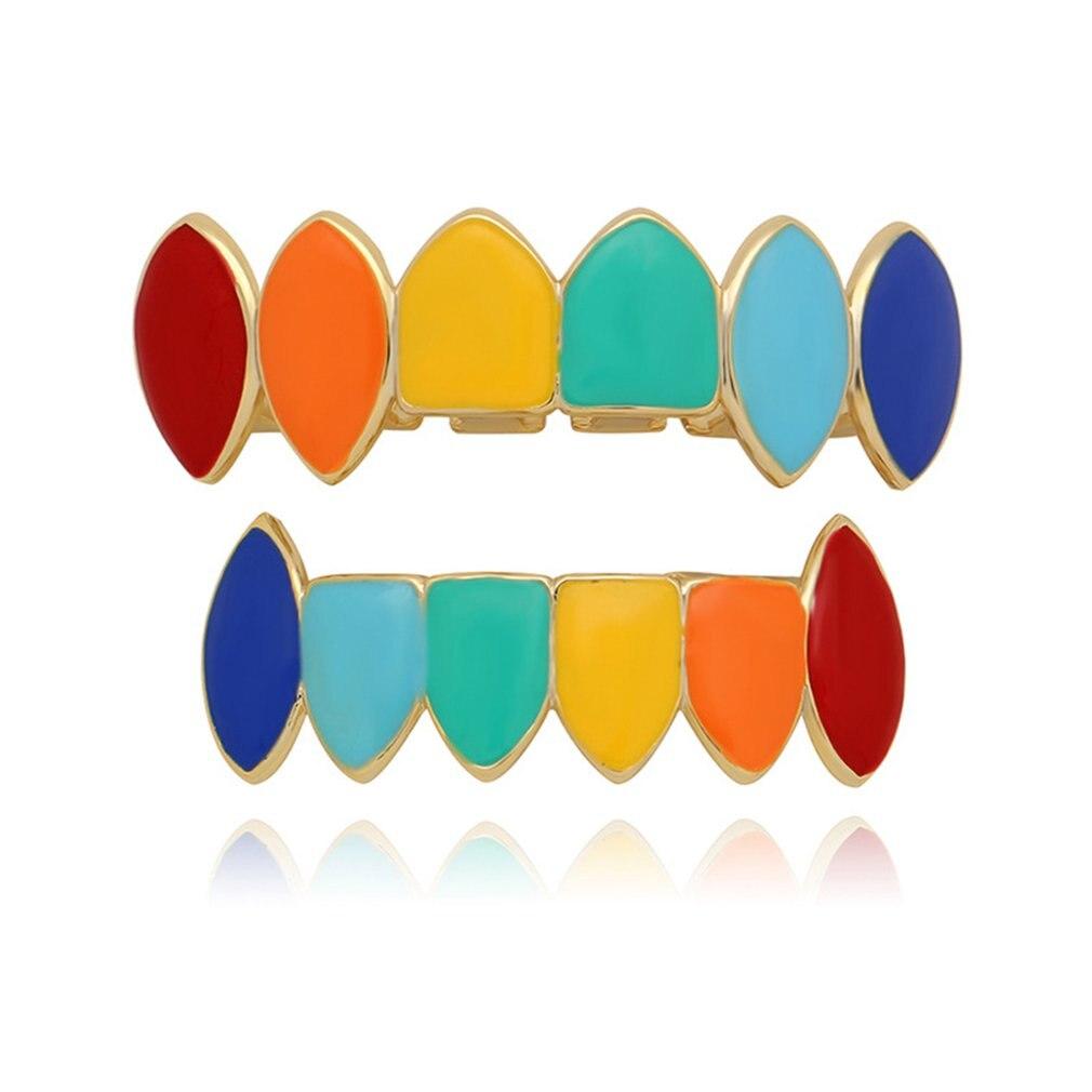 Diseño único, conjunto de joyas de dientes de vampiro, coloridos, parte superior inferior, diente de Hip Hop, dientes, joyería de cuerpo Dental