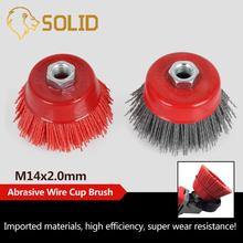 """1/2Pcs 4 """"Tasse Nylon Schleif Pinsel Rad M14 X 3 zoll P80 Pile Polymer-schleif für Winkel Grinder Werkzeug 80/120 #"""
