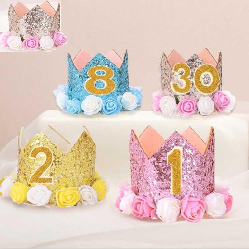 Quente adorável meninos meninas do bebê festa de aniversário chapéu crianças headwear flor coroa hairband foto adereços headdress lantejoulas chapéus