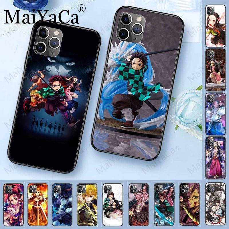 Demon Slayer Kimetsu No Yaiba TPU Soft Silicone Black Phone Case For iphone 11pro 5s 6s 7 8plus x xs xr xsmax coque Cover