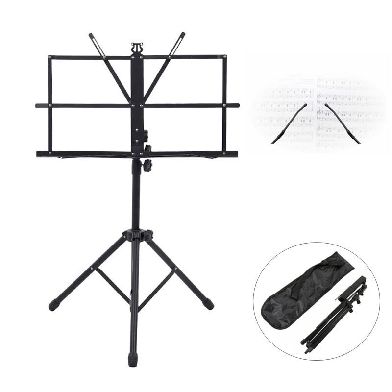 Folding Lightweight Music Stand Aluminum Alloy Tripod Stand Holder Height Adjustable Carrying Bag Guitar Parts & Accessories enlarge