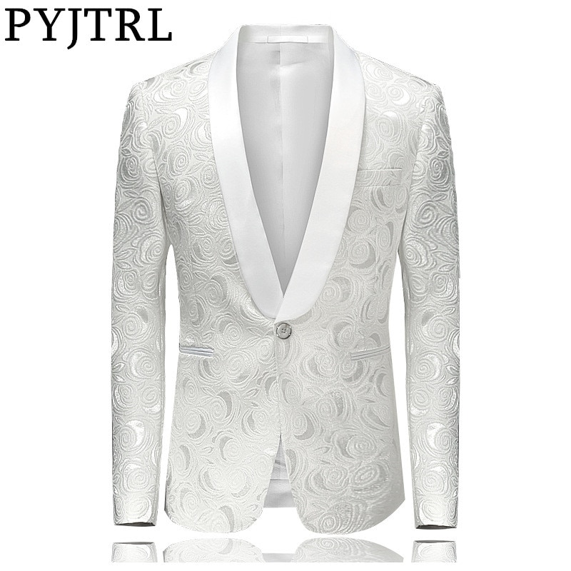 PYJTRL Mens Moda Rosa Branca Jacquard Blazer Slim Fit Paletó