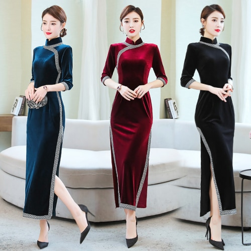 Moda 2020, envío gratis, tiro Real, viejo Shanghai, Retro, celebridad, Cheongsam, vestido elegante para chica, estilo joven, largo de terciopelo chino