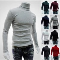 Chandail a col roule pour hommes  pull decontracte  coupe ajustee  couleur unie  nouvelle collection automne hiver 2019  425