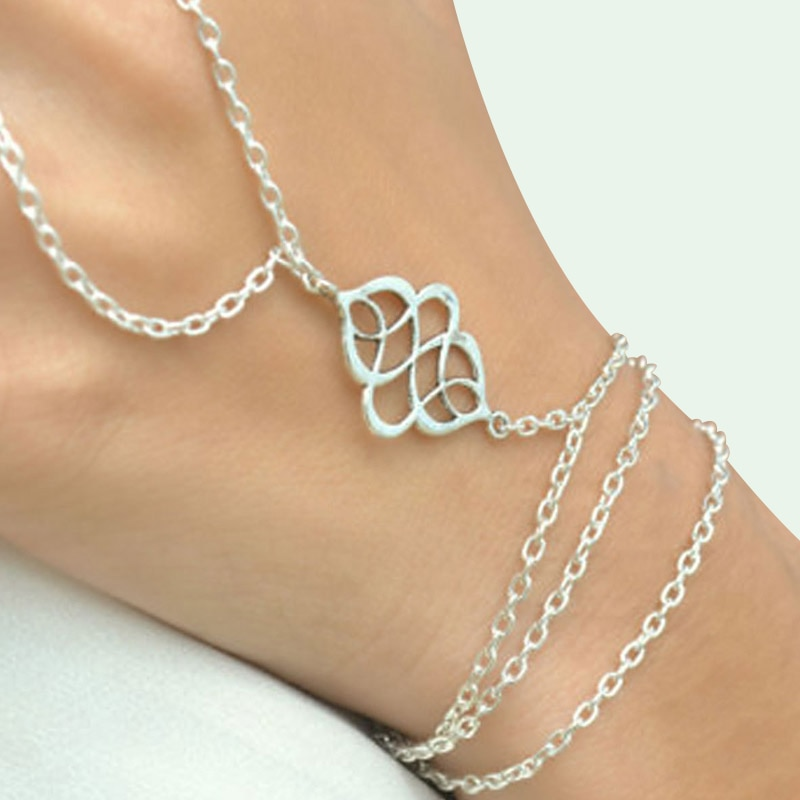 Bohemian Alloy Hollow Finger Bracelet Simple Layered Geometric Tassel Chain Bracelets For Women Jewelry Accessories Fashion