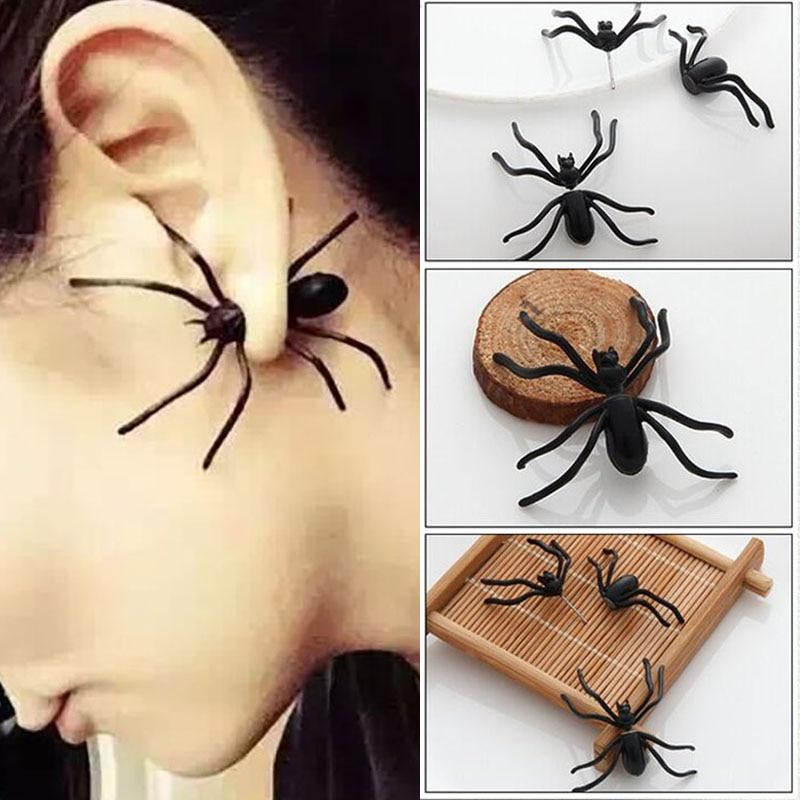 Halloween Decoration 1Piece 3D Creepy Black Spider Ear Stud Earrings for Haloween Party DIY Decoration Home Decor@01