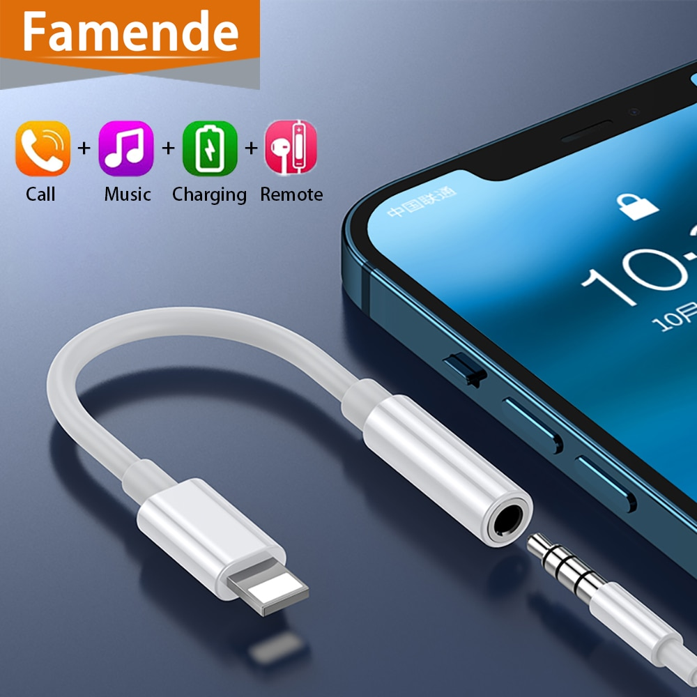 Conector Adaptador de auriculares para Iphone, Adaptador para Lightning a 3, 5mm,...
