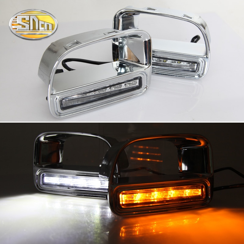 SNCN 2PCS LED Tagfahrlicht Für Mini Cooper Countryman Gelb Blinker Funktion 12V Auto DRL Nebel lampe Dekoration