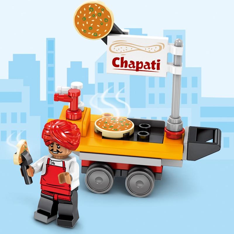 8 Uds pastel fruta flor BBQ Pizza Shop bloques de construcción Street View Small partículas Plug and Play juguete de regalo para niño niña