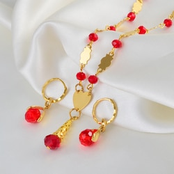 Anniyo hawaiian colorido bola de cristal contas colares brincos conjuntos guam micronésia chuuk pohnpei marshall jóias presente #240806