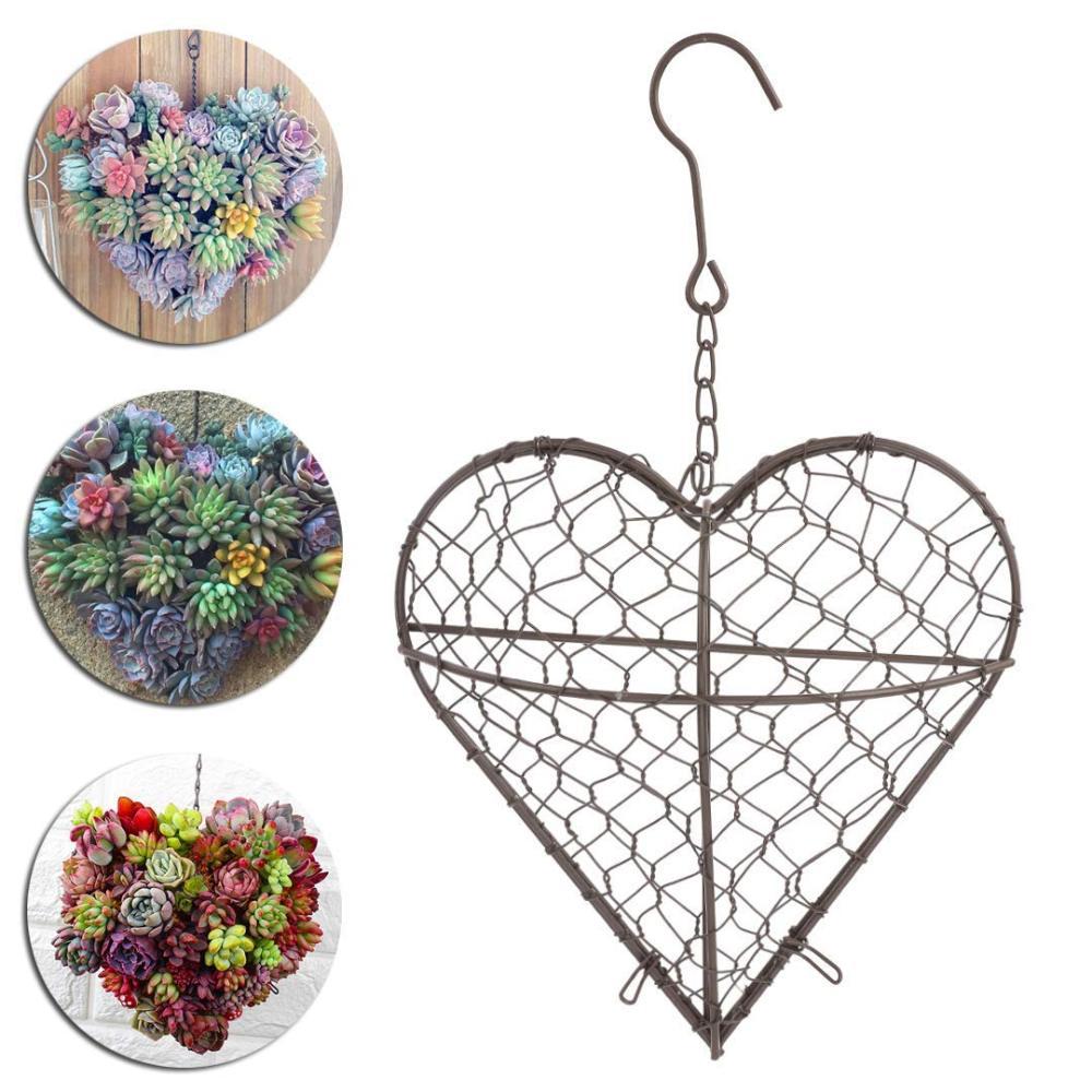 Cesta de flor con forma de corazón, macetas de hierro colgantes, macetas de plantas suculentas, cesta Universal de plantas de Metal