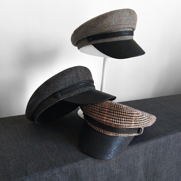 Otoño invierno coreano pequeño gorro de marinero plano mujeres atractivo Retro lana gorra británica señora Marina barco sombreros marineros
