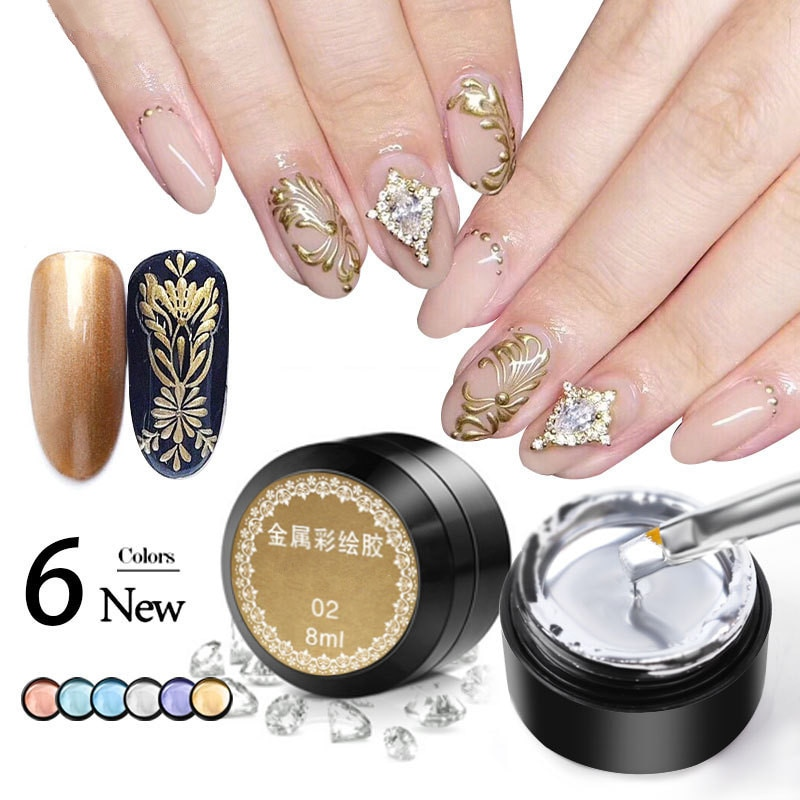 Metal Effect Nail Gel Rose Gold Silver UV LED Draw Painting Stamping Art Color Polish Manicure Long Lasting Vernish