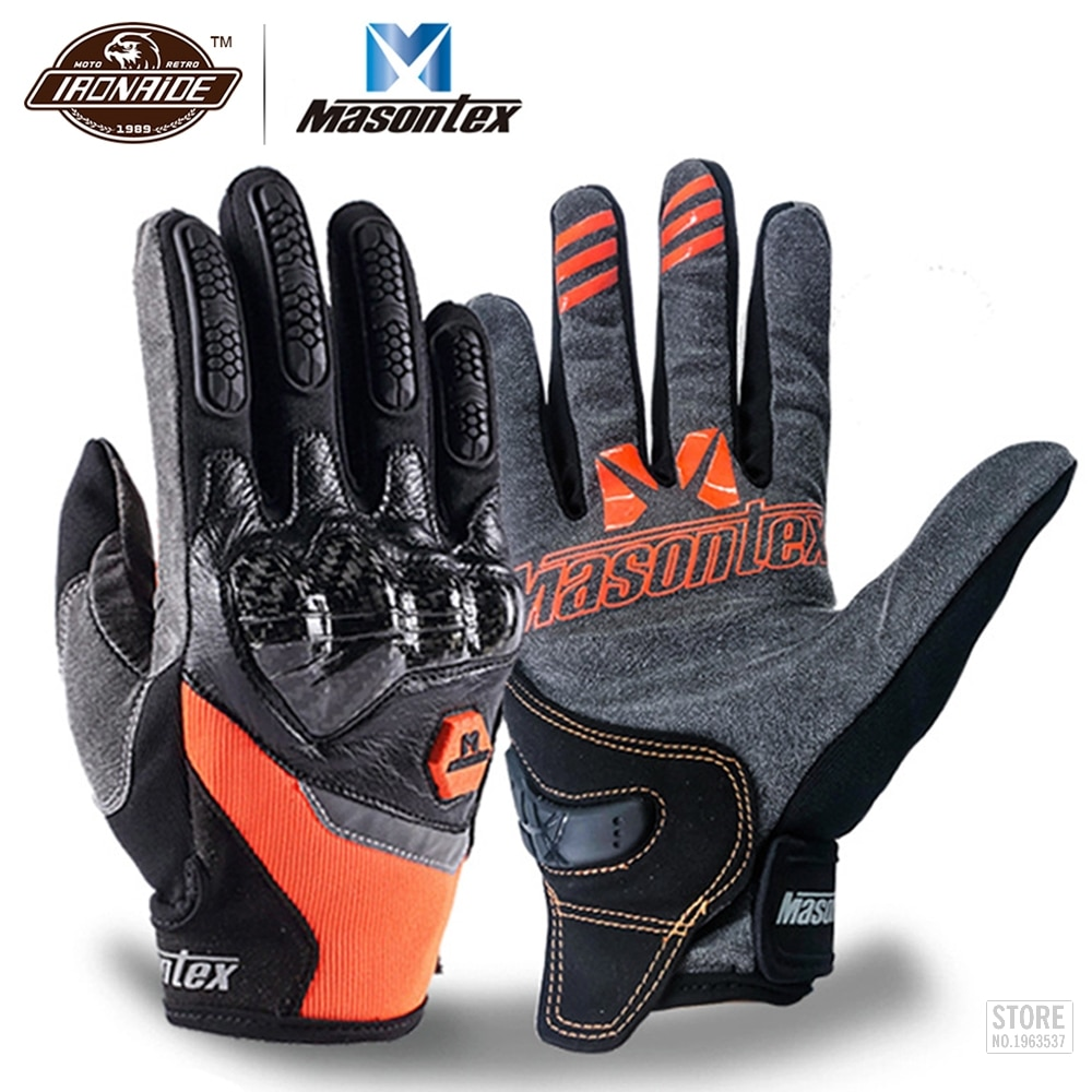 free shipping newest rs 390 full skin perforated carbon fiber glove motorcycle racing gloves full finger 3 size 3 color Masontex Carbon Fiber Motorcycle Gloves Full Finger Moto Motocross Glove Touch Screen Guantes Moto Breathable Motorbike Gloves