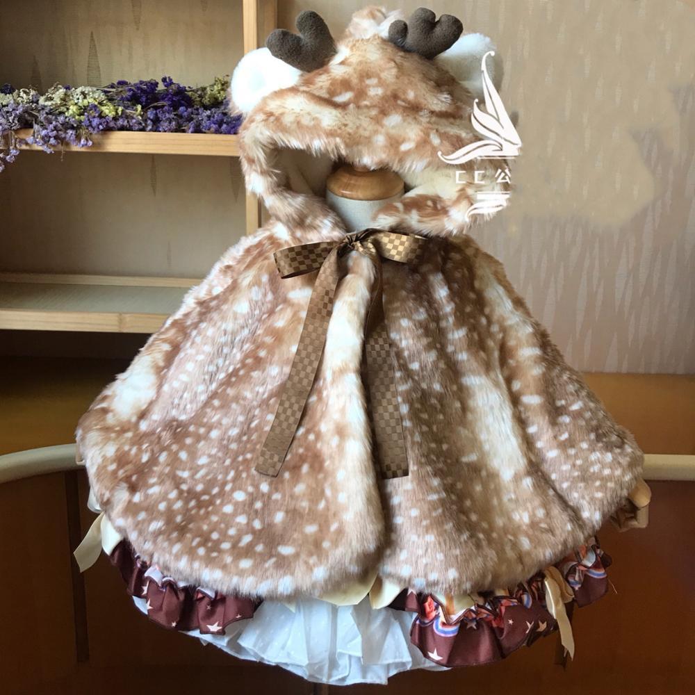 Invierno moda niños bebé niña Fawn chal capa caliente dibujos animados princesa con capucha capa niños Charistma abrigo