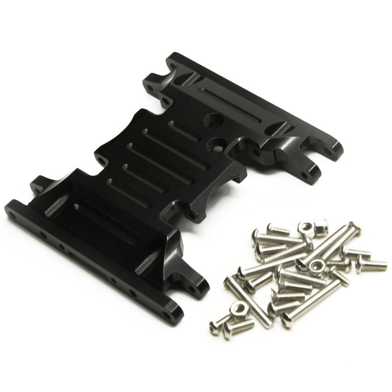 Aluminum Bottom Base Mount Middle Center Skid Plate Adapter Mount with Tool for SCX10 II 90046 RC Crawler,Black enlarge