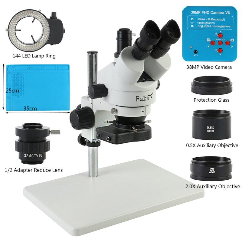 3.5x-90X سيمول-البؤري ثلاثي العينيات مجهر ستيريو + 1080P 38MP 2K HDMI USB كاميرا فيديو 1/2 CTV محول لإصلاح لحام PCB