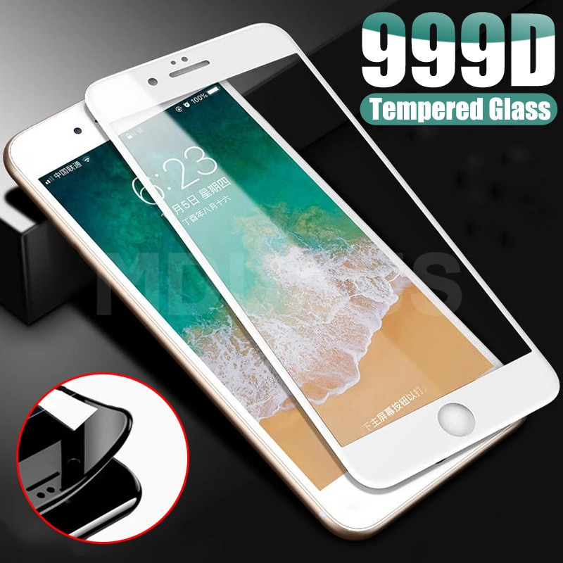 999D Protective Glass on For iPhone 8 7 6 6S Plus XR X XS Glass Full Cover iPhone 11 12 Pro Max Scre