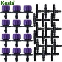 kesla 50pcs greenhouse adjustable purple dripper 47mm barb tee connectors micro drip irrigation 14 hose watering system kit
