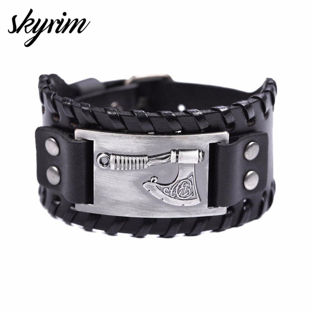 Skyrim Slavic Perun Axe conector de artesanía de Metal Charms pulsera de cuero para hombres Opal vikingo envoltura de joyería pulsera brazalete joyería