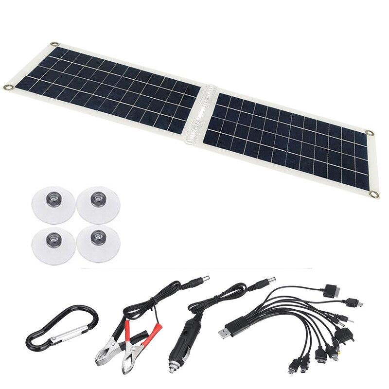 50w dobravel painel solar modulo rv carro barco bateria recarga power bank 18v