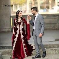 sevintage burgundy muslim evening dress kaftan long sleeve velvet arabic evening gown lace appliques prom dress vestido longo