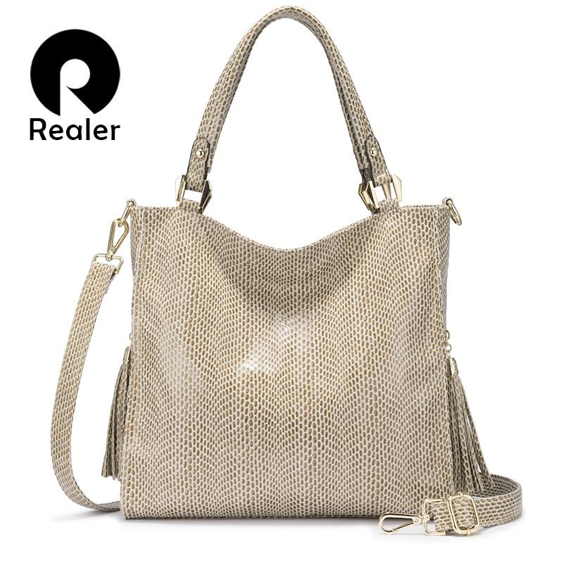 REALER women handbag shoulder bag female crossbody bags for women 2020 luxury handbag with top handle for ladies tassel tote bag