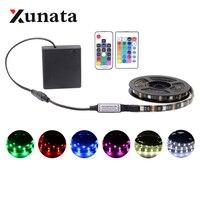 Водонепроницаемая светодиодная лента RGB с питанием от аккумулятора, 5 в постоянного тока, светодиодсветильник лента 5050 RGB, 30 светодиодов/м, s-...