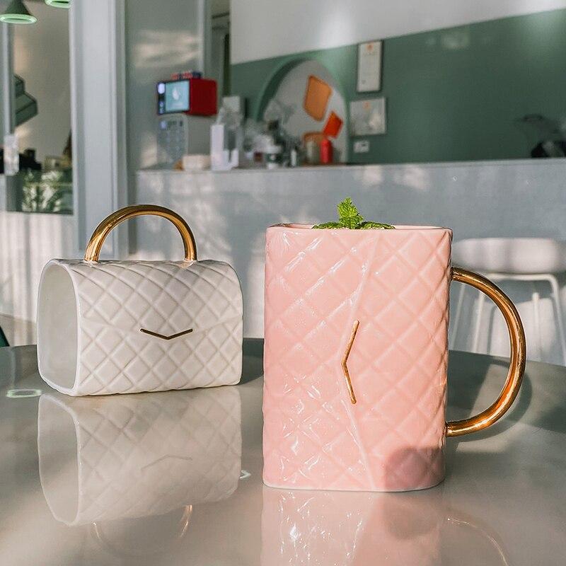 حقيبة على شكل كوب ضوء الفاخرة لطيف أكواب للفتيات كأس السيراميك القدح كأس القهوة القدح الوردي بولي الأبيض اللون أكواب السائبة