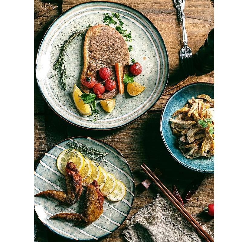Vajilla de cerámica japonesa con bajo esmalte, cuenco para fideos y sopa de arroz a rayas, platos occidentales para carne, plato de pescado, vajilla para el hogar