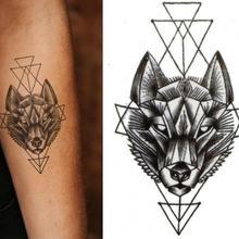 Tatuajes geométricos de rombo, tatuajes temporales de Lotus Wolf para hombres, tatuajes de flores negras, tatuajes a prueba de agua, pastas de Henna para mujeres