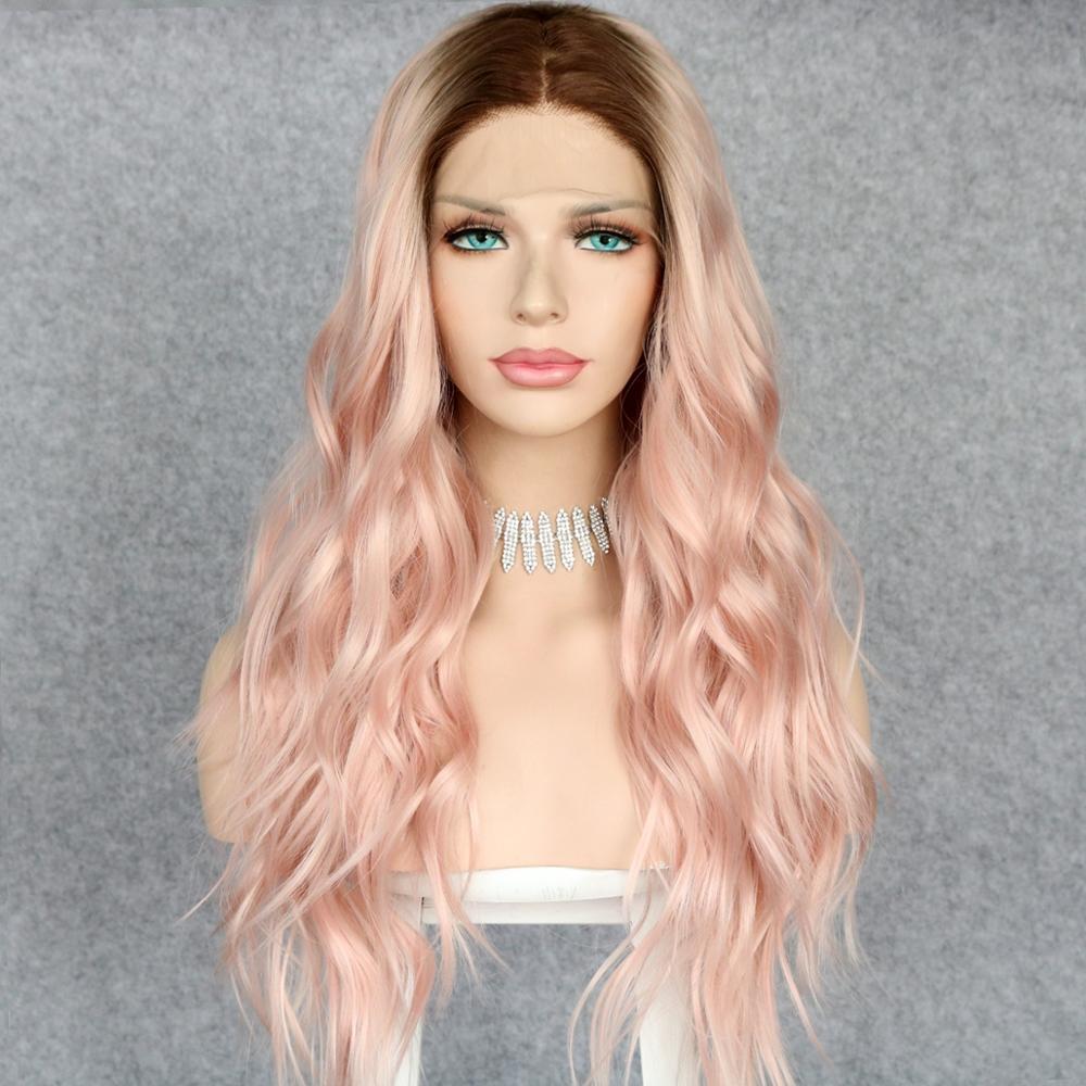 Lvcheryl Ombre raíces marrones a ROSA MELOCOTÓN Natural largo ondulado sintético frontal pelucas de encaje pelucas de pelo resistente al calor para mujeres