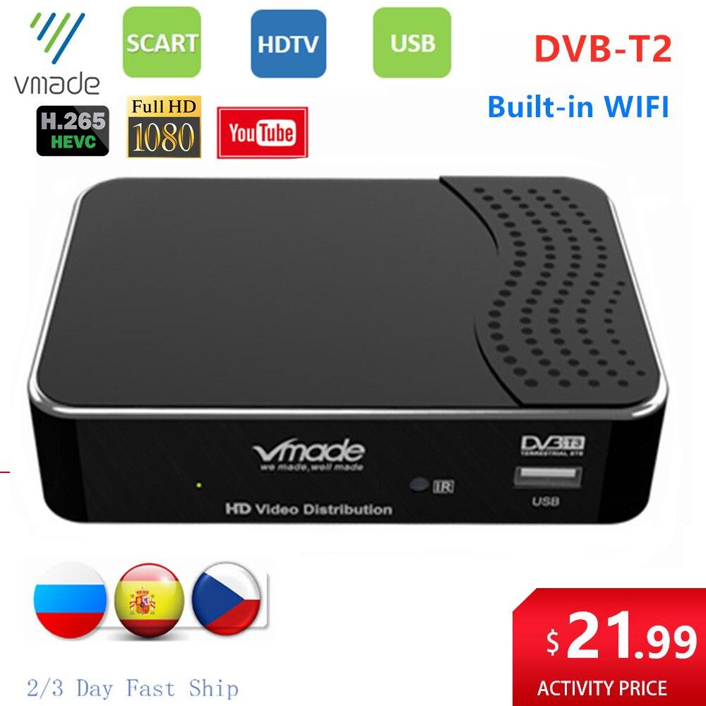 DVB-T2 Digital Receiver HD Full 1080p DVB T2 TV tuner Set Top Box Built-in WIFI Support YouTube m3u dvb t2 H.265 HEVC TV Decoder недорого