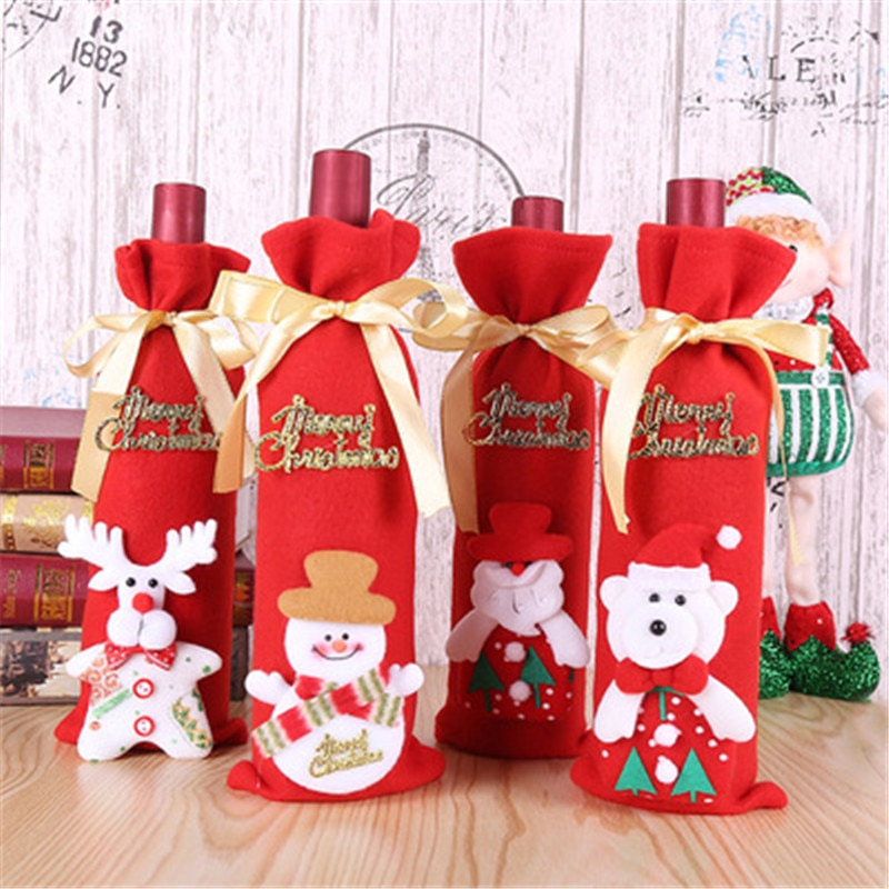 Christmas Decoration Wedding Party Wine Bottle Set No Face Doll Champagne Embroidery Doll Wine Bag R