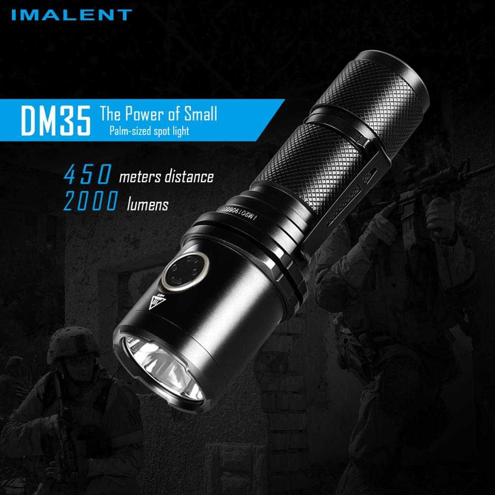 IMALENT DM35 Led Fashlight 2000 Lumens Rechargeable Cree XHP35 HI Portable Handlight Outdoor Lighting with 21700 Battery Lantern