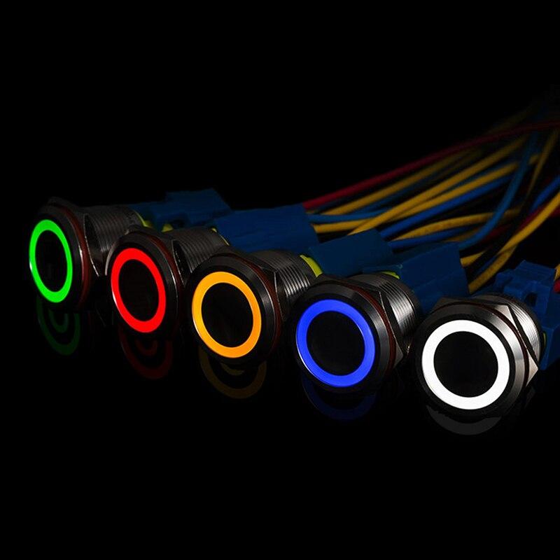 1 Uds. 12MM 5V 12V botón de Metal interruptor botón momentáneo auto reinicio impermeable iluminado